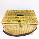 Fishing Basket w/ Lid and Leather Carrying Strap (Large)