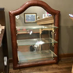 Leather Covered  Mirror w/ 3 Glass Shelves