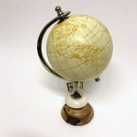 Small Natural Globe on Wood Stand