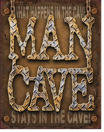 "Tin Sign ""Man Cave - Diamond Plate"""