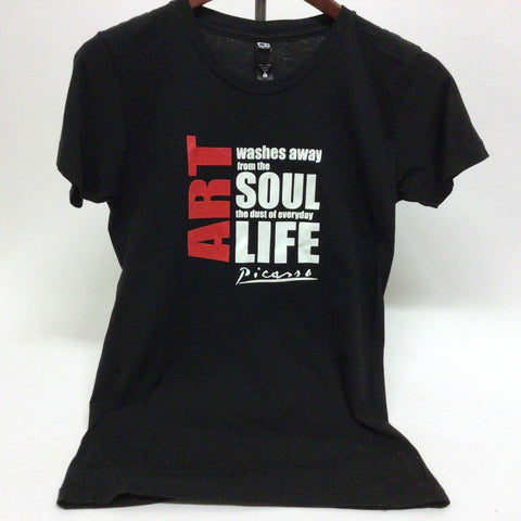 """Art washes away..."" Crew Neck T-shirt - Black"
