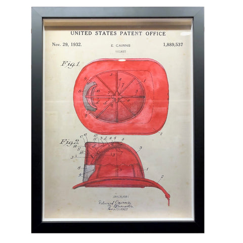 Framed US Patent Office Fire Fighter Hat Print