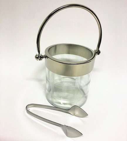 "12.5"" Etched Glass Ice Bucket with Silver Tongs"