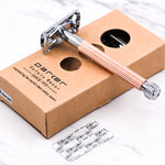 Three Piece Rose Gold Open Comb Head Safety Razor