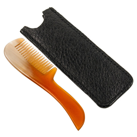 Parker Ox Horn Mustache Comb w/ Leather sleeve.