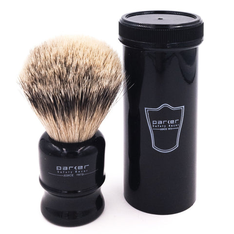 Black Handle Silvertip Badger Travel Shave Brush