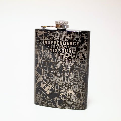 Map Of Independence Etched Flask