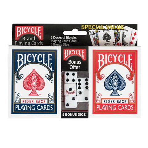 Bicycle 2 Card Packs & 5  Dice Set