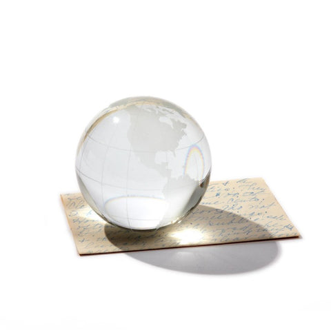 Etched Glass Globe Paperweight