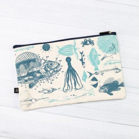Zippered Canvas Pouch - Marine Biology