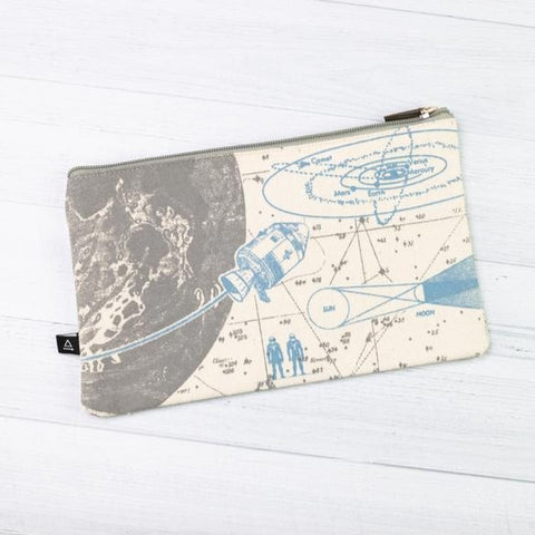 Zippered Canvas Pouch - Space Science