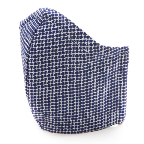 Detailed Square Design Blue Cotton Fabric Protective Face Mask