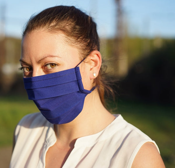 100% Cotton Washable Protective universal sized Face Mask (Dark Blue)