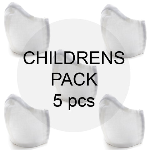 Childrens Value Pack of Organic Cotton Face Masks (5pcs)