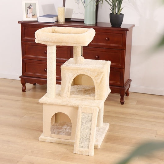 Classic Wooden Multi-Condo Cat Activity Tree