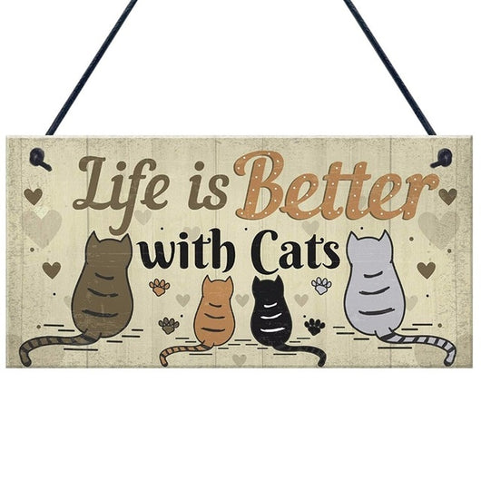 Lovely Cat Plaques Wooden Animal Printed Hanging Sign For Window Door Wall Decor