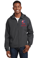 Sport-Tek Hooded Raglan Jacket in Grey with Natick HS Logo and Personalization - K&B Sportswear