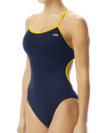 TYR Women's Hexa Trinityfit Swimsuit - Navy/Gold