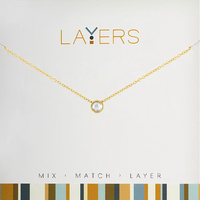 Layers Gold Single Crystal Necklace - 03G