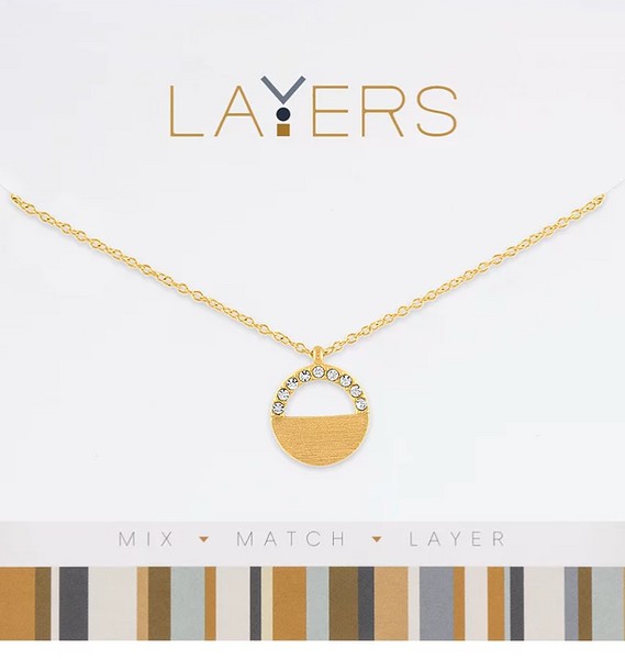 Layers Gold CZ Half Circle Necklace - 107G