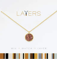 Layers Gold Circle Druzy Pink-Champaign Necklace - 111G