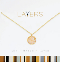 Layers Gold Circle Druzy AB Necklace - 113G