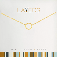 Layers Gold Open Circle Necklace - 11G