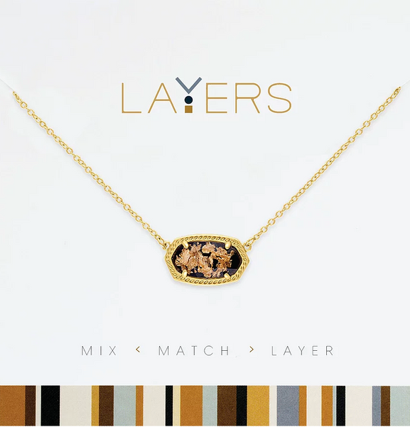 Layers Gold Pendant Stone Gold-Flecked Necklace - 127G