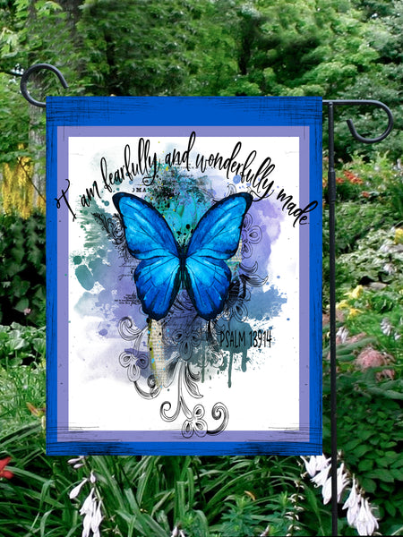 Blue Butterfly Garden Flag