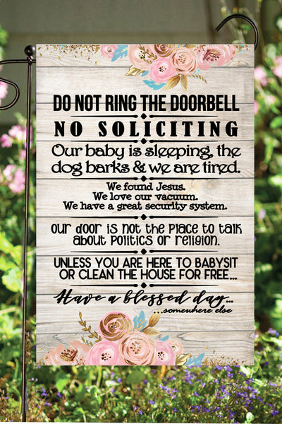 Do Not Ring the Doorbell Garden Flag