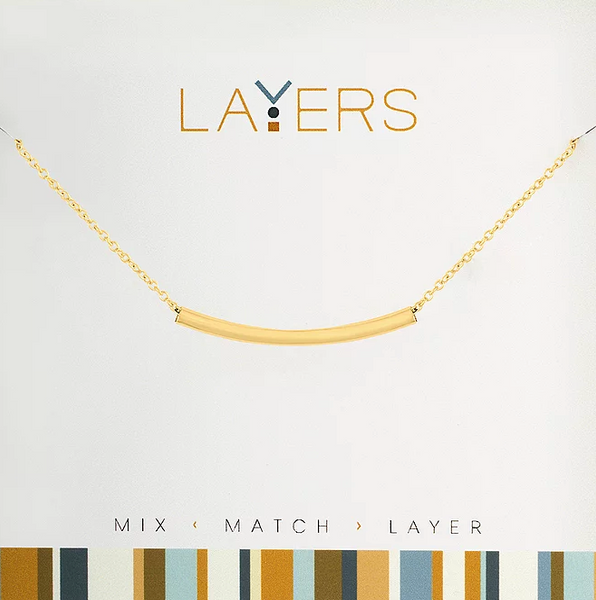 Layers Gold Curved Bar Necklace - 15G