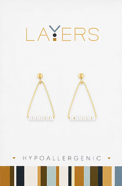Layers Gold Triangle & Pearl Dangle Earrings 18G