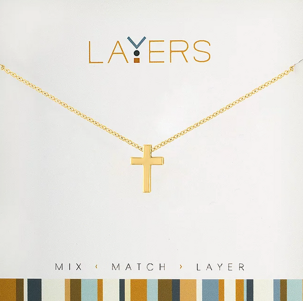 Layers Gold Cross Necklace - 01G