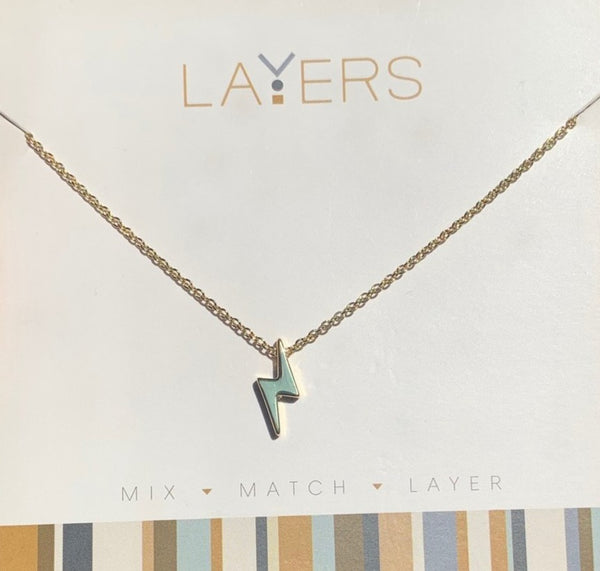 Layers Gold Lightening Bolt Necklace - 21G