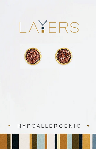 Layers Gold Circle Druzy Pink-Champaign Stud Earrings 32G