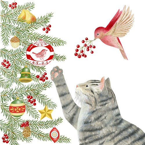 Flour Sack Towel - Christmas Tree Cat