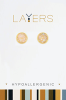 Layers Gold Circle Druzy AP Stud Earrings 36G