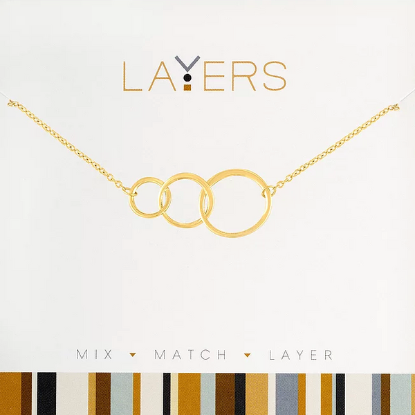 Layers Gold Trio open Circles Necklace - 43G