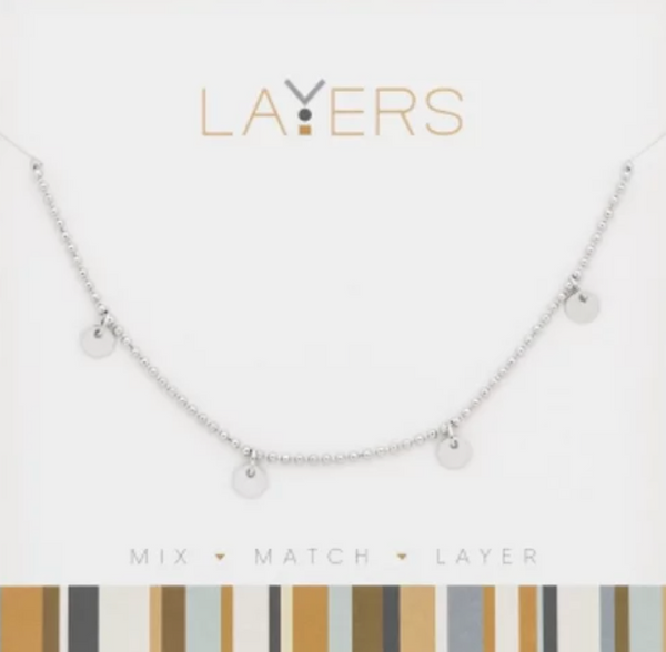 Layers Silver Decorative Disk Necklace 501S