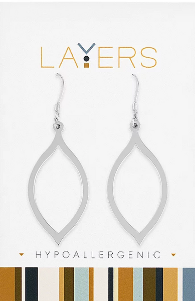 Layers Silver Oval Dangle Earrings 504S