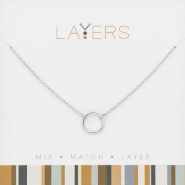 Layers Silver Open Circle Necklace 505S
