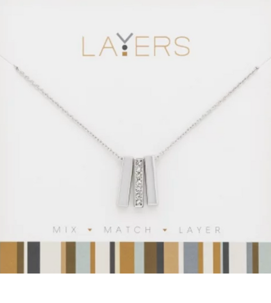 Layers Silver Trio Bar Necklace - 507S