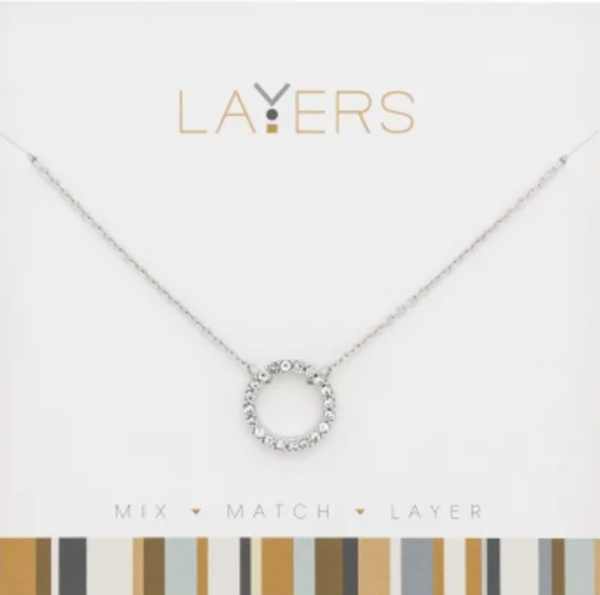 Layers Silver CZ Decorative Circle Necklace 509S