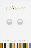 Layers Silver Circle CZ Stud Earrings 512S