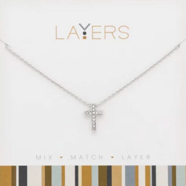 Layers Silver CZ Cross Necklace 515S