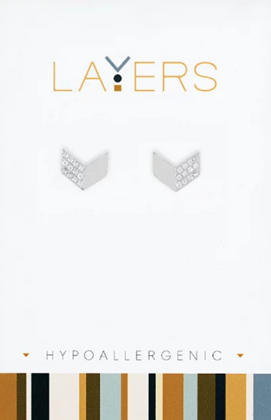Layers Silver Chevron CZ Stud Earrings 516S