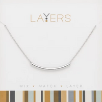 Layers Silver Curve Bar Necklace 517S