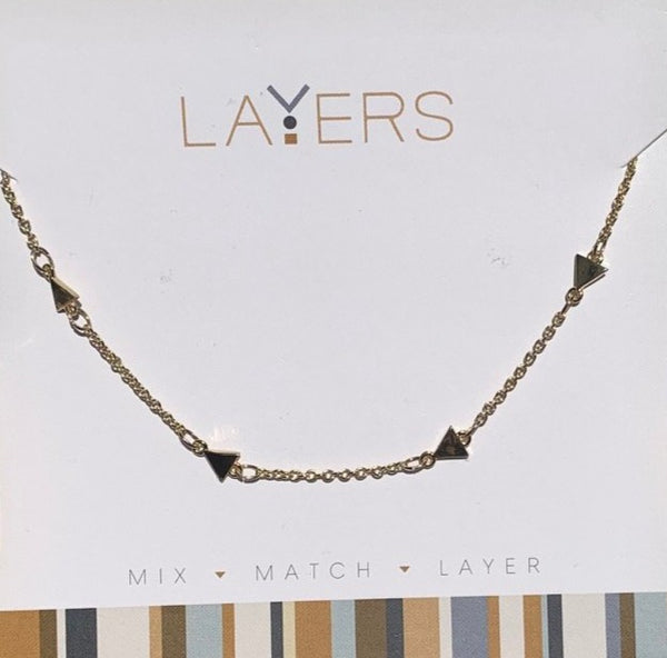 Layers Gold Triangle Chain Necklace - 51G