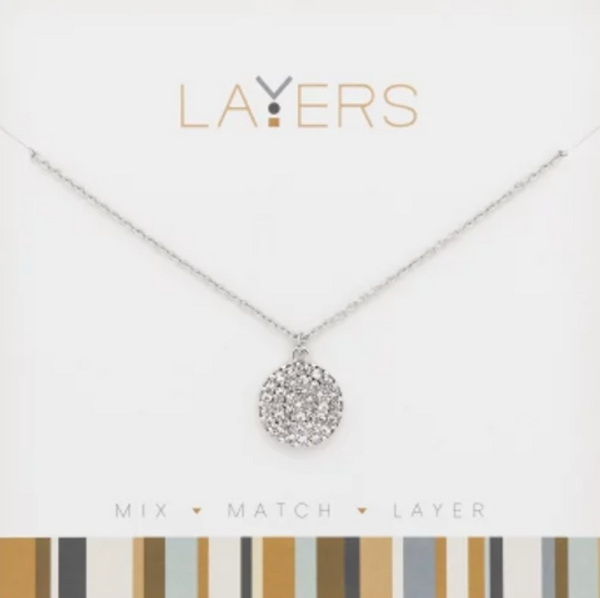 Layers Silver Round CZ Necklace 521S