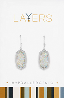 Layers Silver Pendant Druzy Light Grey Dangle Earrings 524S